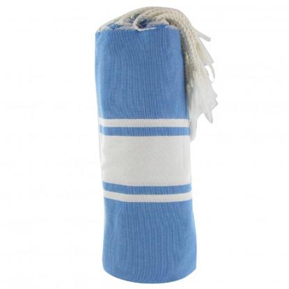 Fouta Drap Plage et Hammam Coton Couleur Bleu Dur