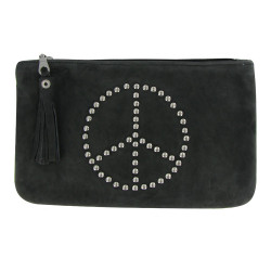 Pochette Sac Daim Clouté Signe Peace and Love Couleur Gris