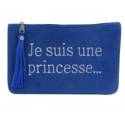 Pochette Sac Daim Brodé Je suis une Princesse Couleur Bleu Dur