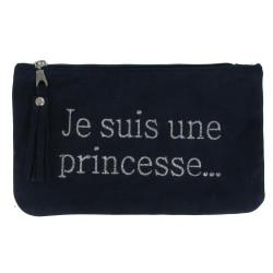 Pochette Sac Daim Brodé Je suis une Princesse Couleur Bleu Marine