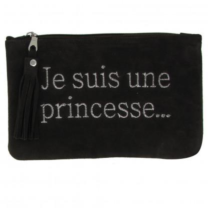 Pochette Sac Daim Brodé Je suis une Princesse Couleur Marron Foncé