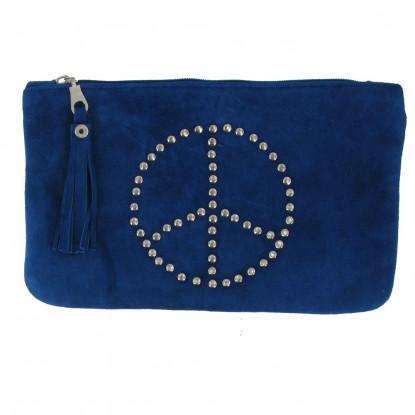 Pochette Sac Daim Clouté Signe Peace and Love Couleur Bleu Mer