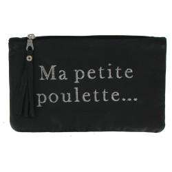 Pochette Sac Cuir Brodé Ma Petite Poulette Couleur Noir