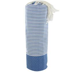 Fouta Drap Plage et Hammam Coton Nid d'Abeille Couleur Bleu Rayé Blanc