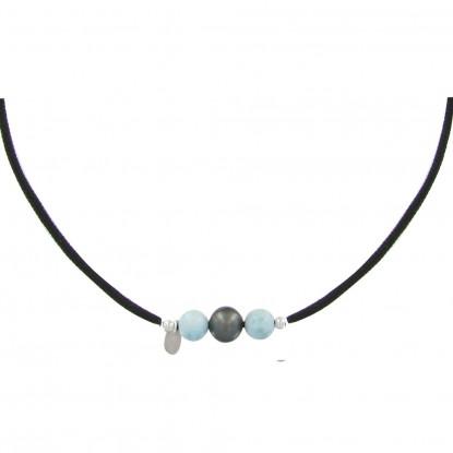 Collier Lien Noir 1 Perle de Tahiti et 2 Perles de Larimar