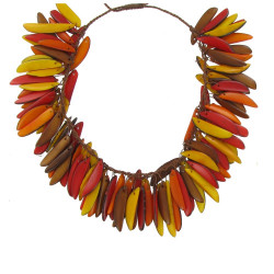 Collier Flamme en Tagua Jaune Orange et Rouge