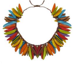 Collier Flamme en Tagua Multicolore Eté