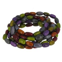 Collier ou Bracelet Elastique Graines de Tagua Multicolore Automne