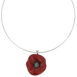 Collier Céramique Coquelicot Rouge Torque Métal