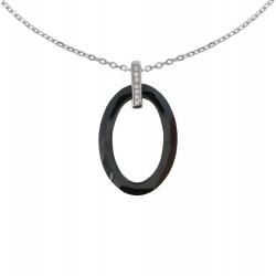 Collier Argent Ovale de Céramique Noire Facetté