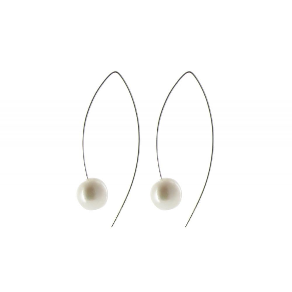 boucles d 39 oreilles argent et perle blanche 11 mm. Black Bedroom Furniture Sets. Home Design Ideas