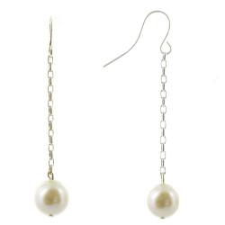 Boucles d'Oreilles Argent et Perle Blanche Pendante 9 mm