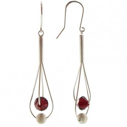 Boucles d'Oreilles Argent Perles de Swarovski Rouge et Argent Brossé