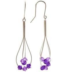 Boucles d'Oreilles Argent 6 Perles de Swarovski Violettes