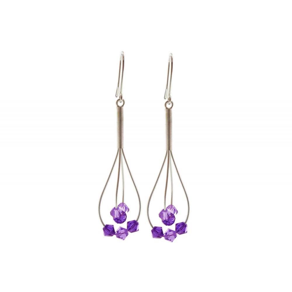Bijoux Argent Swarovski : Boucles d oreilles argent perles de swarovski violettes