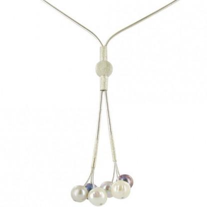Petite Cravate en Argent avec 6 Perles - Blanche, Grise, Noire
