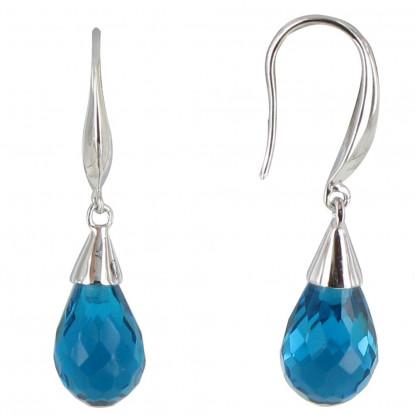 Boucles d'Oreilles Argent Goutte de Zirconium Bleu Azur