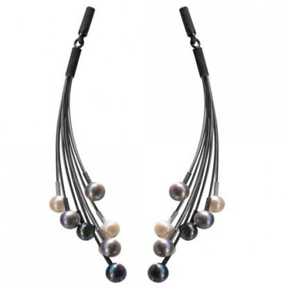 Boucles d'Oreilles Argent Eventail de Perles Grises et Blanches