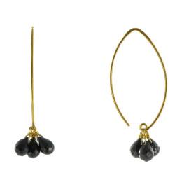 Boucles d'Oreilles Argent Doré 3 Gouttes Facettées d'Onyx Noir