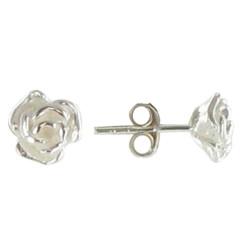Boucles d'Oreilles Puces Roses d'Argent 925