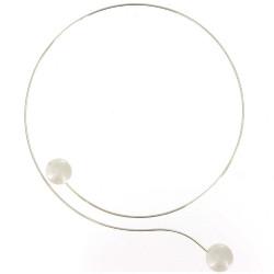 Collier Ras de Cou Argent 2 Perles 6 mm Blanches