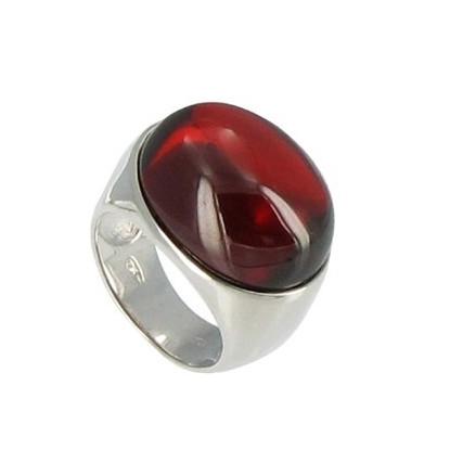 Bague Miroir Rouge Argent et Zirconium