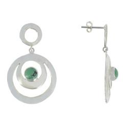 Boucles d'Oreilles Argent Double Cercles et Turquoise