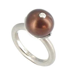 Bague Argent Rhodié Perle de Culture 11 mm Cuivrée et son strass
