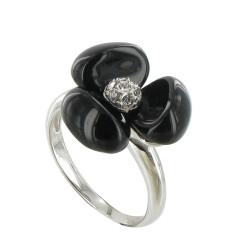 Bague Argent Fleur et Onyx Noir