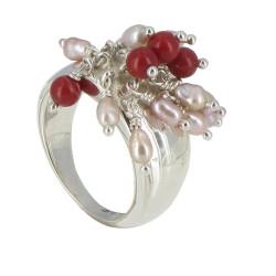 Bague Argent Bouquet de Perles Rose et Corail