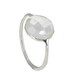 Bague Argent Grande Demi-Sphère Facettée de Quartz Cristal