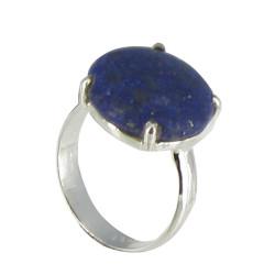 Bague Argent Pavé de Lapis Lazuli Serti