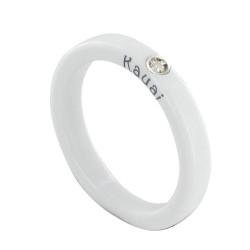 Bague Diamant Blanc Résine Blanche et Argent