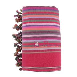 Kikoy Serviette Plage Coton Couleur Rayé Fuchsia Eponge Rose