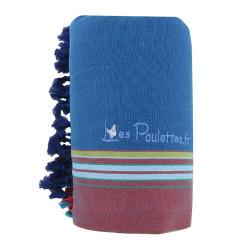 Kikoy Serviette Plage Coton Couleur Bleu Pétrole Eponge Marine