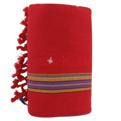 Kikoy Serviette Plage Coton Couleur Rouge Eponge Bleu