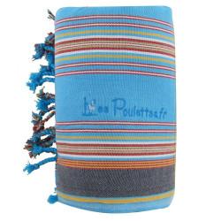 Kikoy Serviette Plage Coton Couleur Turquoise Rayé Rouge et Jaune