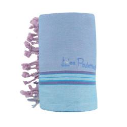 Kikoy Serviette Plage Coton Couleur Bleu Ciel Parme