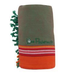 Kikoy Serviette Plage Coton Couleur Vert et Orange