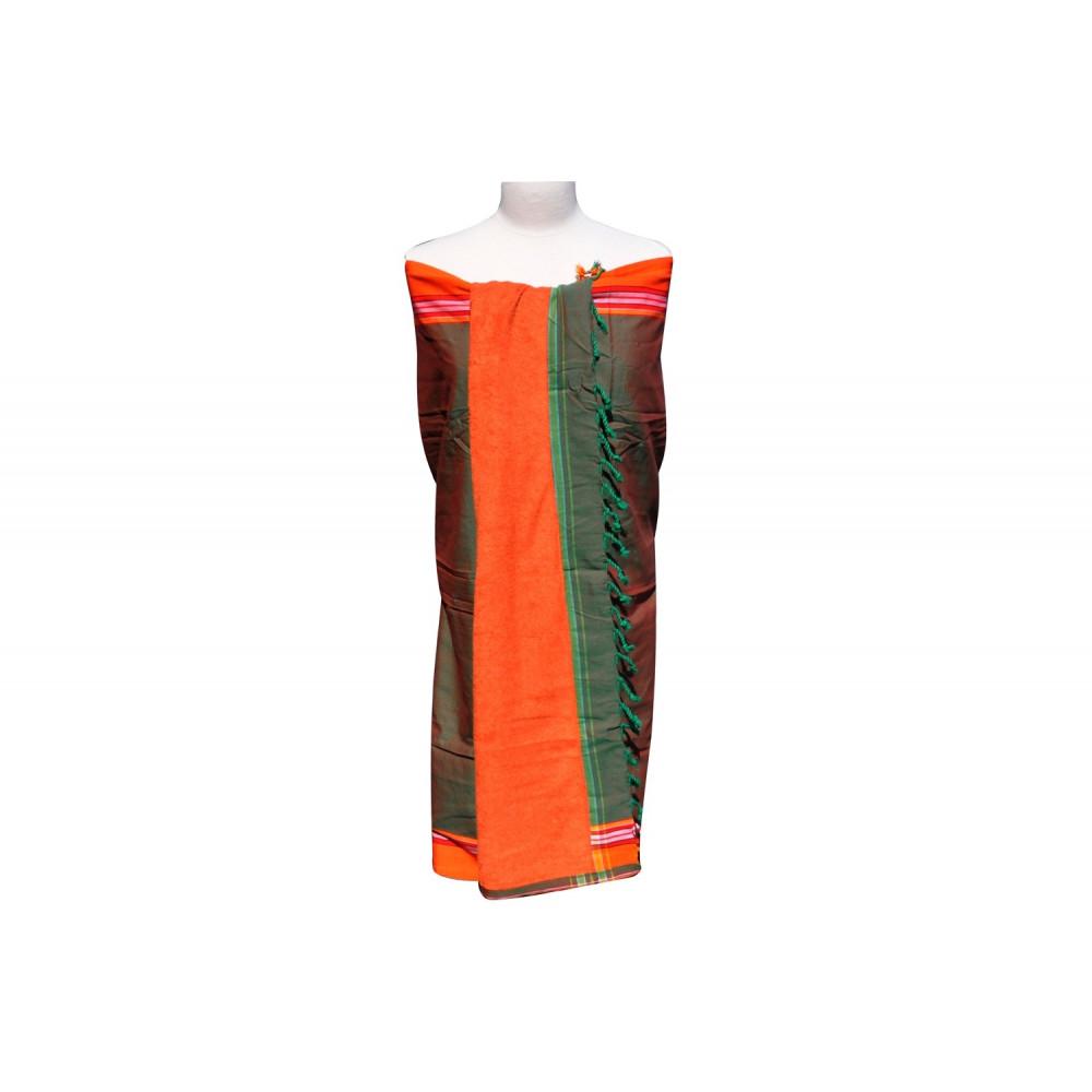 kikoy serviette plage coton couleur vert et orange. Black Bedroom Furniture Sets. Home Design Ideas