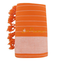 Kikoy Serviette Plage Coton Couleur Orange Rayé Blanc