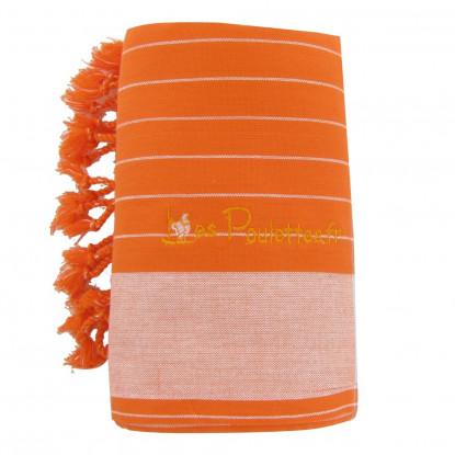 Kikoy Serviette Plage Coton Couleur Orange Rayé Blanc