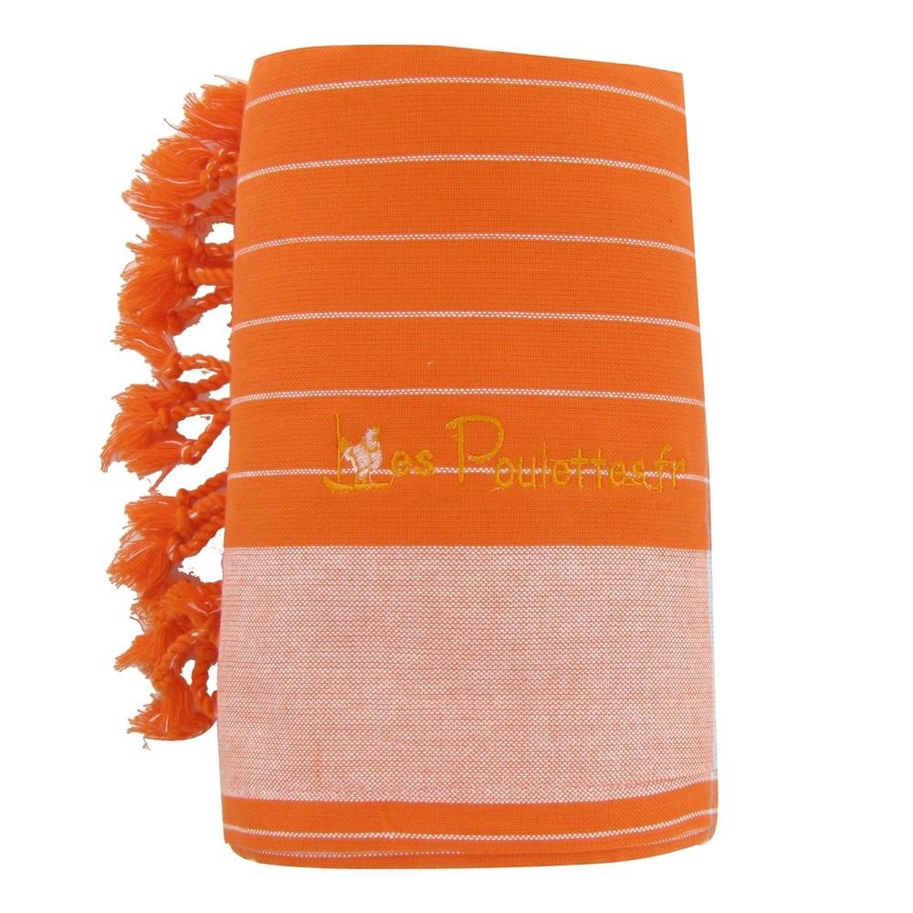 kikoy serviette plage coton couleur orange ray blanc. Black Bedroom Furniture Sets. Home Design Ideas