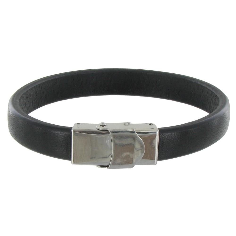 bracelet homme cuir noir large fermoir acier inoxydable. Black Bedroom Furniture Sets. Home Design Ideas