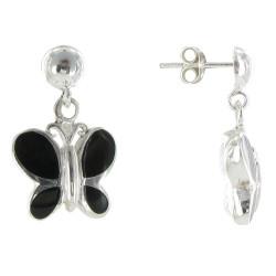 Boucles d'Oreilles Argent Papillon Résine Noire