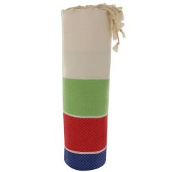 Fouta Drap Plage et Hammam Coton Nid d'Abeille Blanc Rayé Vert Rouge et Bleu