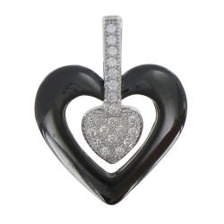 Pendentif Argent Rhodié Coeur Céramique Noire et Strass