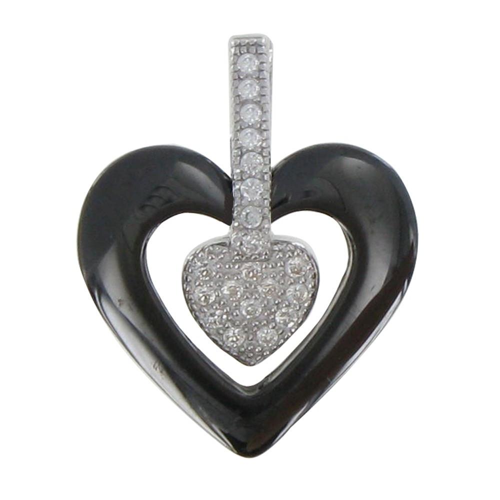 pendentif argent rhodi coeur c ramique noire et strass. Black Bedroom Furniture Sets. Home Design Ideas