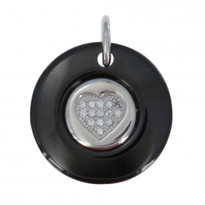 Pendentif Argent Rhodié Disque Céramique Noire et Coeur de Strass