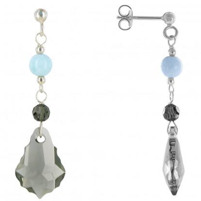 Boucles d'Oreilles Argent Cristal de Swarovski Gris et Perle de Larimar